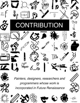 """""""Contribution"""" book cover with AI-generated glyphs"""