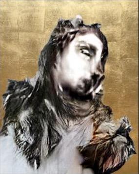 Portrait of figure on gold leaf background